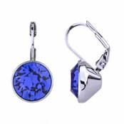 Thera's 9mm Round Cut Crystal Leverback Earrings - Blue