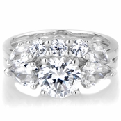 Tilda's Silvertone 3 Stone CZ Wedding Ring Set