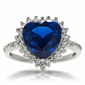 Jewelry Comparable to Titanic: Heart of the Ocean Blue CZ Ring