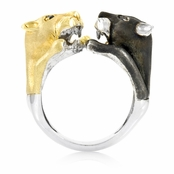 Traci's Wildcat Cocktail Ring - Black & Goldtone