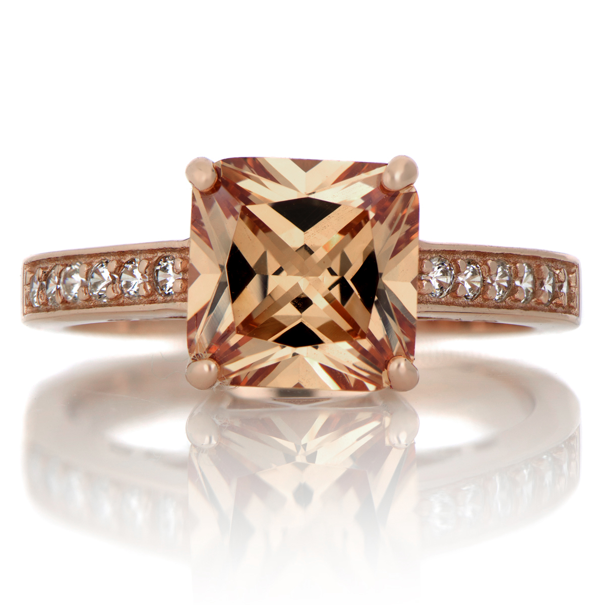 Trista's 4ct Rose Goldtone Princess Cut Champagne Cz Engagement Ring