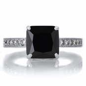 Trista's 4ct Silvertone Princess Cut Black CZ Engagement Ring