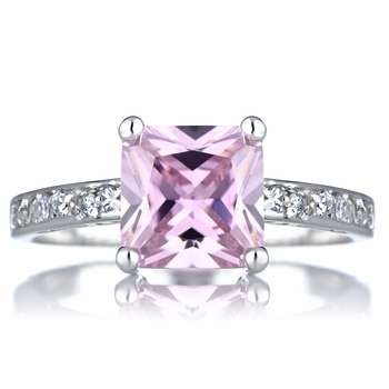 Trista's Promise Ring - Pink Princess Cut CZ