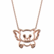 Flying Pig Necklace - Top Rated Rose Gold Tone Flying Pig Pendant with 18 inch chain