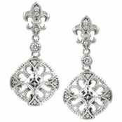 Truly's Fleur de Lis CZ Dangle Earrings