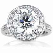 Sterling Silver Cubic Zirconia Round Cut Halo Engagement Ring