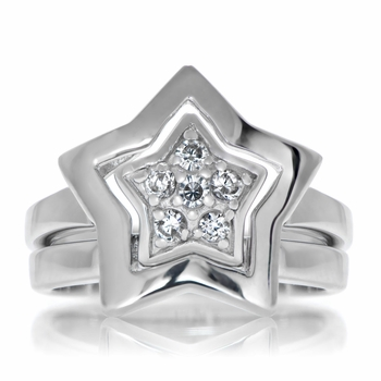 Two Piece Star Pave Ring