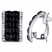 Valentina's Silvertone and Black Half Hoop Clip On Earrings