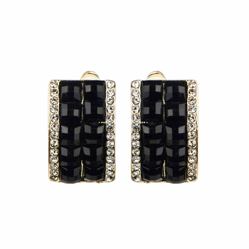 Valentina's Gold and Black Half Hoop Clip On Earrings