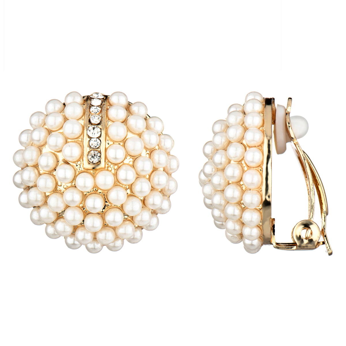 Valerie's Gold Imitation Pearl Cluster Button Clip On Earrings Roll Off  Image To Close Zoom Window