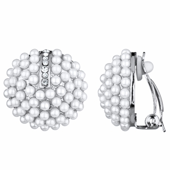 Valerie's Silvertone Imitation Pearl Cluster Button Clip On Earrings