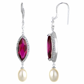 Valkyrie's Imitation Pearl & Red CZ Earrings