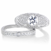 Vanora's CZ Antique Wedding Ring Set