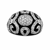Venecia's Silvertone Black  CZ Cocktail Ring