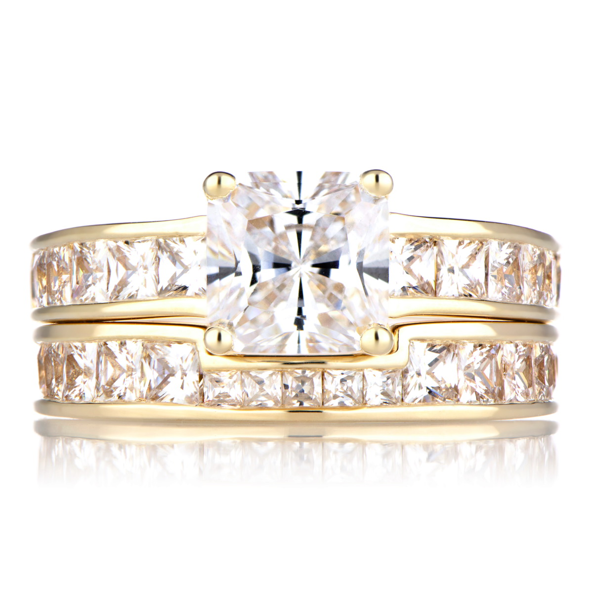 gold cubic zirconia princess cut wedding ring set