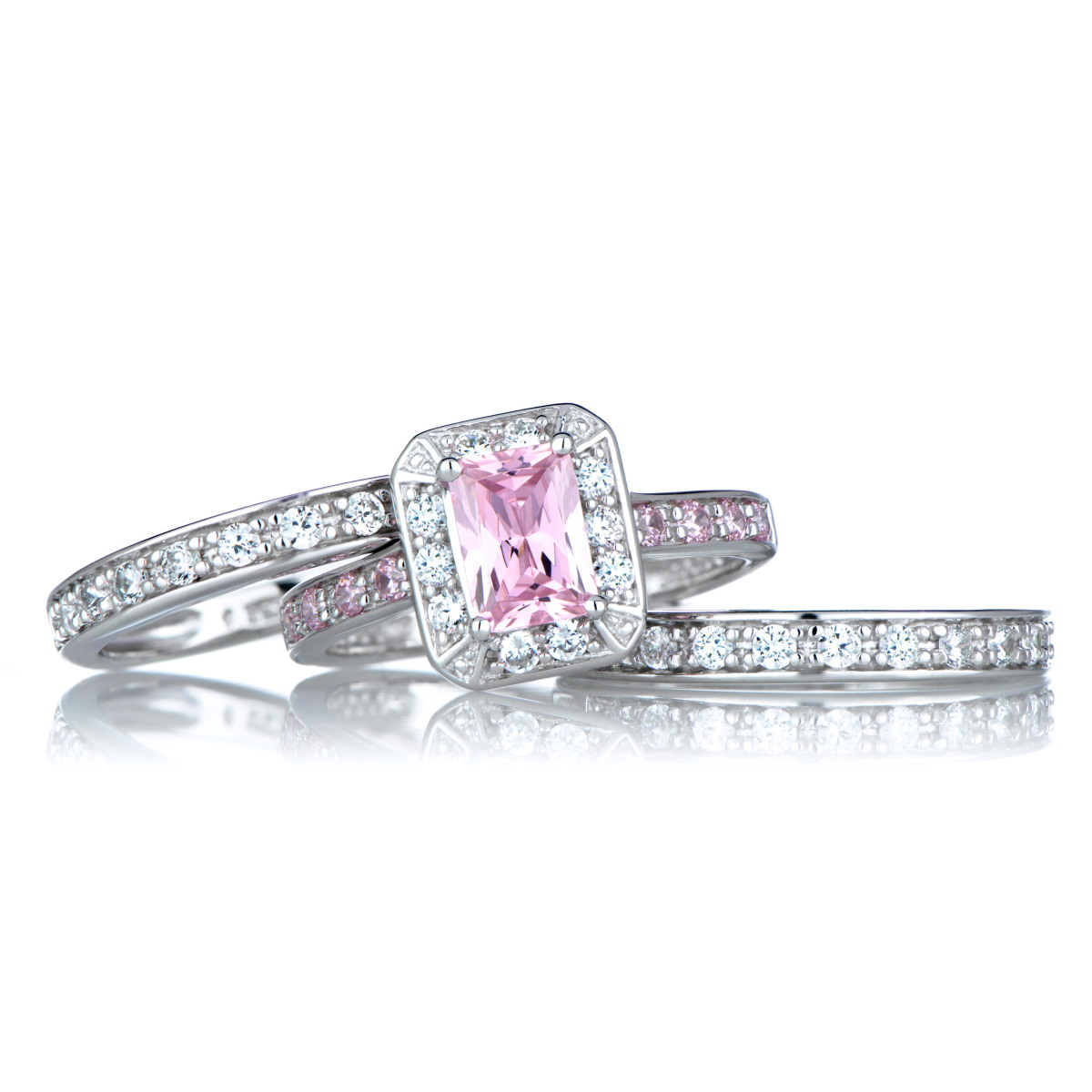pink cubic zirconia wedding ring set - Pink Wedding Ring Set