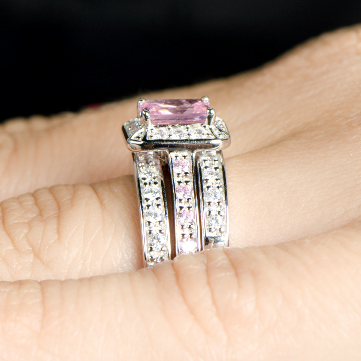 Fake Pink Diamond Wedding Ring Set