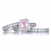 Pink Cubic Zirconia Wedding Ring Set