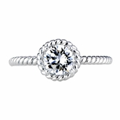 Vivian's Petite Silvertone Twisted Engagement Ring - Designer Inspired