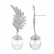 Von's CZ & Imitation Pearl Drop Angel Wing Earrings