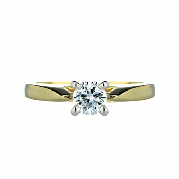 Zejna's Goldtone Engagement Ring - Round Cut CZ