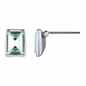 Zelia's Emerald Cut Crystal Stud Earrings - Mint Green