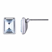 Zelia's Emerald Cut Crystal Stud Earrings - Blue