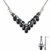 Ziba's Fancy Black CZ Fashion Prom Necklace Set