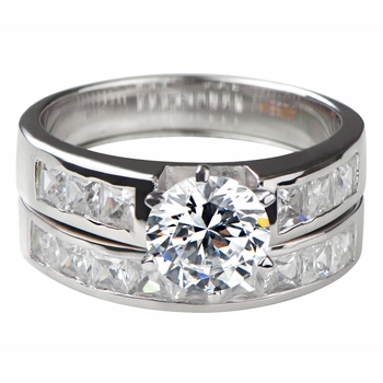 Zora's Round Cut CZ Wedding Ring Set