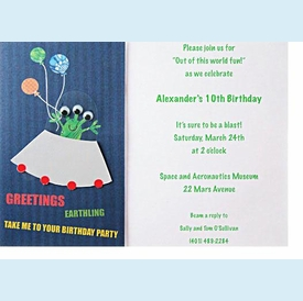 Alien with Balloons Invitation - click to enlarge