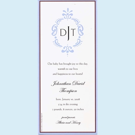 Antique Blue Frame Invitation - click to enlarge