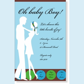 Baby Couple Blue Invitation - click to enlarge