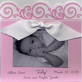Baby Pink Scroll Square Invitation - click to enlarge