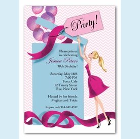 Balloon Gift Girl Invitation - Blonde - click to enlarge