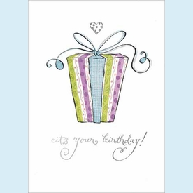Big Present w/Small Heart Birthday Card - click to enlarge