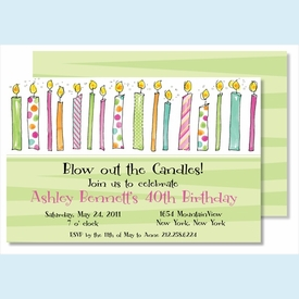 Birthday Candles for Her Large Flat Invitation - click to enlarge