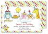 Birthday Party Animals Large Flat Invitation