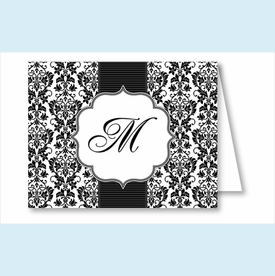 Black Botanical w/Ribbon Pattern Note Cards - click to enlarge