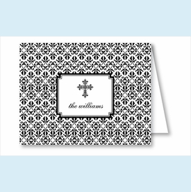 Black Cross Iron Scroll Pattern Note Cards - click to enlarge