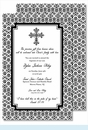 Black Cross with Iron Scroll Pattern Large Flat Invitation