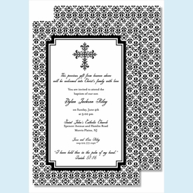 Black Cross with Iron Scroll Pattern Large Flat Invitation - click to enlarge