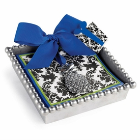 Black Damask Napkins in Silvertone Holder - click to enlarge
