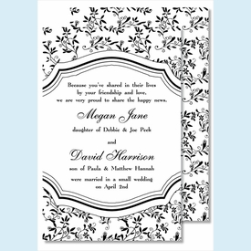 Black Sweet Pea Large Flat Invitation - click to enlarge