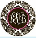 Black Toile Personalized Magnet