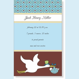 Blue Baby Stork Invitation - click to enlarge