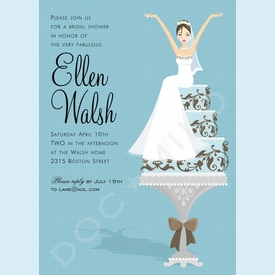 Blue Cake Bride (Brunette) Invitations - click to enlarge