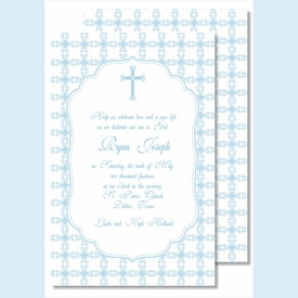Blue Cross with Tile Pattern Large Flat Invitation - click to enlarge