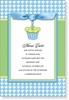 Blue Cupcake Gingham Topper Invitation
