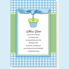 Blue Cupcake Gingham Topper Invitation - click to enlarge