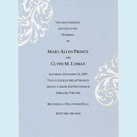 Blue Drop Out Etched Invitation - click to enlarge